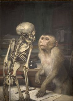 Max, Gabriel (1840-1915) - Monkey Before Skeleton (Gabriel von Max was a significant artist to emerge from the Piloty School, because he abandoned the themes of the Grunderzeitliche (genre and history),
