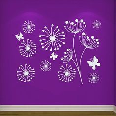 Wall Decal Dandelion Flower Butterfly Decals Bedroom Home Decor Vinyl Art MR305
