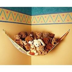 Love this toy hammock for getting all your kids soft toys off the floor!