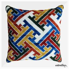 This Pin was discovered by Ala Modern Cross Stitch, Cross Stitch Kits, Cross Stitch Designs, Cross Stitch Patterns, Diy Embroidery, Cross Stitch Embroidery, Embroidery Patterns, Needlepoint Pillows, Needlepoint Patterns