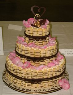 Tiramisu Wedding Cake    3rd place, beginner wedding cake category  2007 Cake and Sugar Art Show, Austin, TX