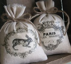 Lavender Sachets, Shower Gifts, French Rabbit, Paris, Angels, Set of Two on Etsy, $14.75