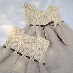 Linen and cotton dress, bridesmaid dress, worked crochet and... Baby Dress