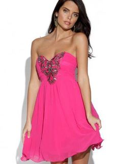 Bright Pink Layered Strapless Dress with Embellished Front
