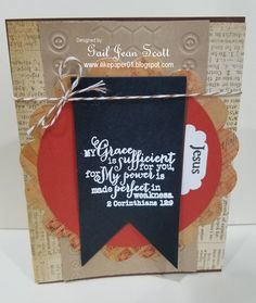 Handmade card by Gail Scott using the 2 Corinthians 12:9 plain jane stamp from Verve. #vervestamps #faithstamping