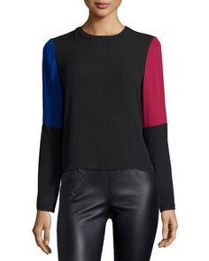 Donella Colorblock Draped-Back Top, Black Multi, Women's, Size: XS, Black Pattern - BCBGMAXAZRIA