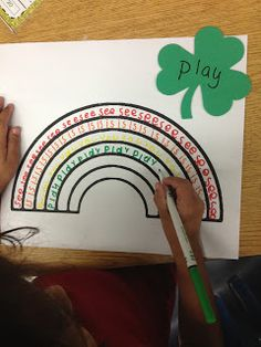 rainbow sight words. Write word in various colors on each arc of rainbow (word on colored shamrock)