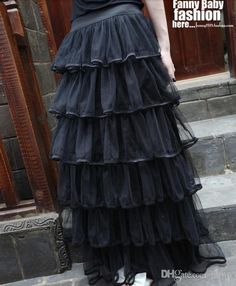 Wholesale Black Skirts - Buy New Arrival Of Spring 2014 Long Tulle Layered Skirts Ruffles Maxi Skirts For Women Black Waisted Skirts For Ladies Summer, $28.85 | DHgate