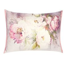 Peonies Floral Silver Cushion