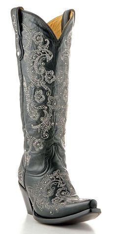 Corral Boot - Black/Grey Full Stitch Studded