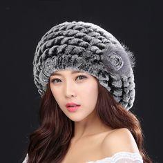 2017 Top fashion excellent genuine rabbit fur hat Women winter cap  best gift for lover , friend