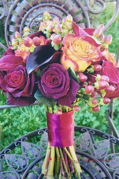 Black Magic Red and Orange Roses Bouquet, Autumn Bridal Bouquet