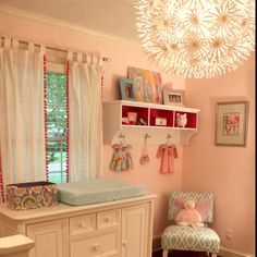 I love the shelf, color pallet and light for a sweet little girls room