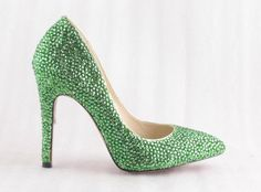 blingbling shoes Shinning crystal high heel Pointed shoes for Wedding or party Green Color. $95.00, via Etsy.