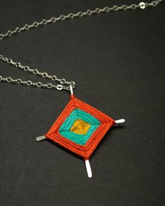 Ojo de Dios  Eye of God Sterling Silver and Silk by CatMHorn, $69.00
