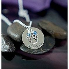 Personalized Paw Print Necklace – DII - Pet Lover Gift – Handstamped Handmade – 1 Inch Silver Disc – Choose Birthstone Color – Customize Name – Fast 1 Day Shipping Personalized Christmas Gifts, Personalized Jewelry, Handmade Jewelry, Xmas Gifts, Gifts For Pet Lovers, Dog Gifts, Bone Jewelry, Jewelry Necklaces, Jewellery