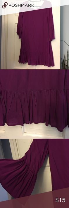 Bell ruffle sleeve dress Purple bell sleeve dress. Sits above the knee. V neck back with a round higher neck in the front. Never worn. entro Dresses Mini