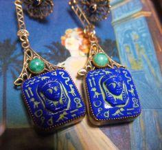 1920s Deco Egyptian earrings  Czech Egyptian by terrasouljewelry, $79.00