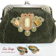 poseta verde, green purse soutache