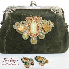 poseta verde, green purse soutache