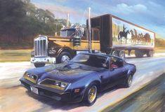 Smokey and The Bandit . 1977 Pontiac trans am Big Rig Trucks, Semi Trucks, Old Trucks, Classic Trucks, Classic Cars, Classic Films, Smokey And The Bandit, Pontiac Firebird Trans Am, Kenworth Trucks
