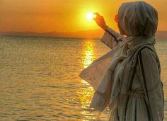 Grey Hijabi and sunset.