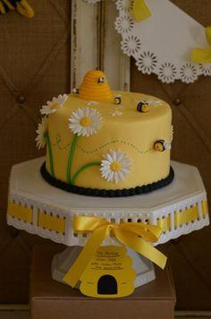 Bumble bee themed birthday cake