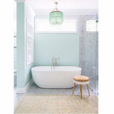 images like Une salle de bain aux murs pastel . visit us and get your ideas Pastel Bathroom, Spa Like Bathroom, Bathroom Colors, Modern Bathroom, Mint Bathroom, Bathroom Wall, Turquoise Bathroom, Chevron Bathroom, Colorful Bathroom
