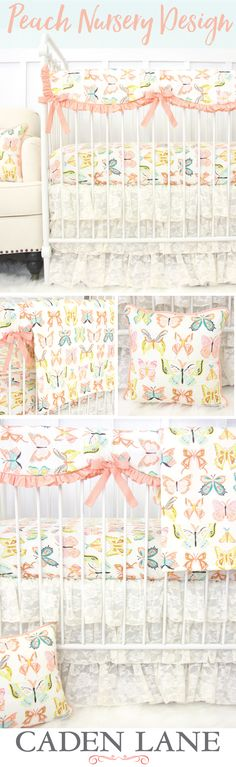 Find your peach nursery inspiration with this crib bedding set that's full of adorable butterflies! This peach print with vintage lace skirt is perfect for a baby girl's nursery.