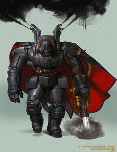 Steampunk Starwars - Vader, Bjorn Hurri on ArtStation at https://www.artstation.com/artwork/steampunk-starwars-vader