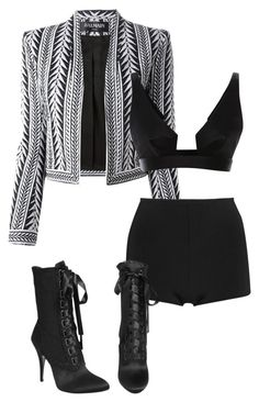 """Untitled #111"" by biannkabarakat ❤ liked on Polyvore featuring Balmain, Giuseppe Zanotti and Cushnie Et Ochs"