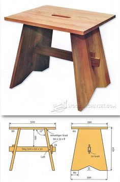 Stool Plans - Furniture Plans and Projects | WoodArchivist.com                                                                                                                                                                                 Más