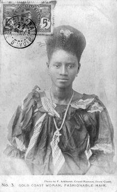 "Africa | ""Gold Coast Woman, The Fashionable Hair""  No. 3.  ca. 1900s || Vintage postcard; photo F Arkhurst, Grand Bassam, Ivory Coast"