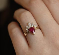 wedding Rings ruby - Natural Ruby Engagement Ring Set with Marquise Diamond Crown Ring, Pear Ruby Solitaire with Matchin Diamond Band Diamond Crown Ring, Diamond Cluster Ring, Diamond Bands, Delicate Rings, Unique Rings, Ruby Wedding Rings, Ruby Rings, Marquise Diamond, Ring Verlobung