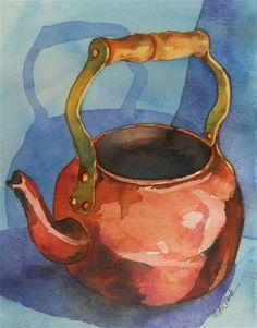 Copper Teapot on Blue - Original Fine Art for Sale - © Donna Pierce-Clark