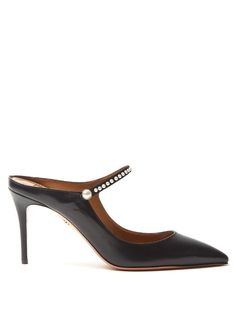 AQUAZZURA Nolita Leather Backless Mules. #aquazzura #shoes #sandals