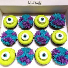 Monsters Inc. Cupcakes. Make Yellow ones with eyes and all purple furry ones with eyes for Despicable Me!