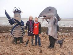Joanna Lumley with MCS' CEO, Sam Fanshawe and our giant sea creatures!