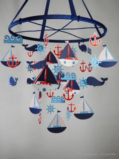Nautical Mobile with Sailboat, Anchor, Helm, Whale and