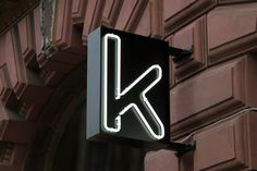 Neon exterior signage for Kontoret by Scandinavian graphic design studio Werklig