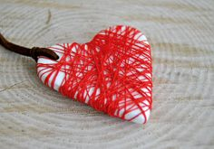 Hey, I found this really awesome Etsy listing at https://www.etsy.com/listing/179152645/ceramic-white-heart-pendant-with-red