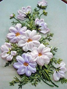 Wonderful Ribbon Embroidery Flowers by Hand Ideas. Enchanting Ribbon Embroidery Flowers by Hand Ideas. Embroidery Designs, Ribbon Embroidery Tutorial, Silk Ribbon Embroidery, Cross Stitch Embroidery, Embroidery Patterns, Hand Embroidery, Embroidery Tattoo, Embroidery Supplies, Machine Embroidery