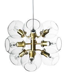 Tage 50 Pendel - Co Bankeryd @ RoyalDesign. Unique Lighting, Lighting Design, Ceiling Lamp, Ceiling Lights, Best Desk Lamp, Grande Lampe, Chandelier, Glass Globe, Dining Room Lighting