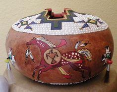Carved Gourd Art Ponies- Medicine Wheel Ponies-