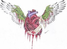 Zombie Heart Tattoo Design with Wings
