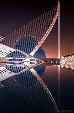 Valencia Reflections.Pont de l'Assut de l'Or, Valencia(by youknowthatthing) architect Santiago Calatrava