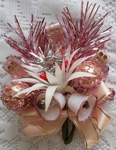 Vtg Christmas Corsage Pink Tinsel Mercury Glass Ornaments CORSAGE pin