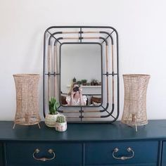 Hanging Coat Rack, Coat Rack Shelf, Hanging Pots, Bamboo Shelf, Mirror Set, Salvaged Wood, Home Decor Furniture, Modern Industrial, Home Decor Accessories