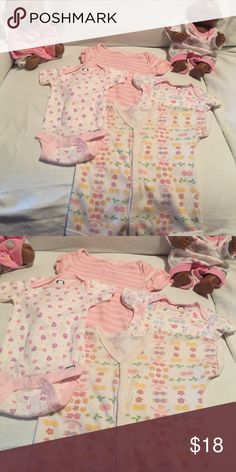 Onesies for a sweet baby girl! EUC what a buy for you! May purchase together for 18$ or will sell separately for 5$ each Gerber and various One Pieces Bodysuits