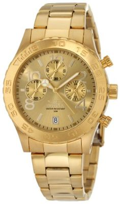 0266577636f Invicta Men s 1279 II Collection Chronograph Gold Dial 18k Gold Ion-Plated  Stainless Steel Watch
